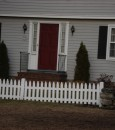 cedar open picket fence with square beveled posts